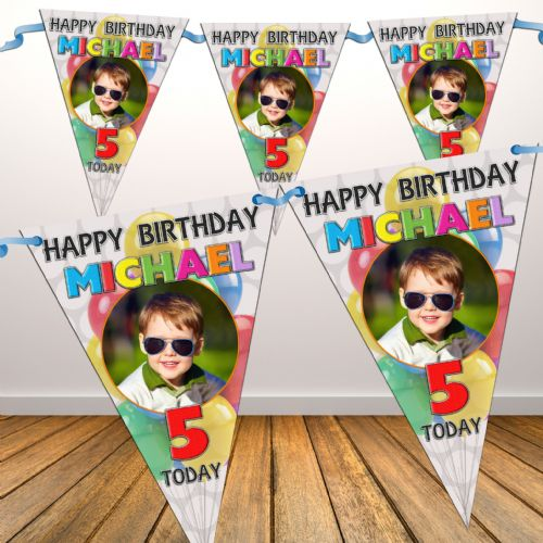 Personalised Girls Boys Balloons Happy Birthday Flag PHOTO Bunting Banner - N72 ANY AGE